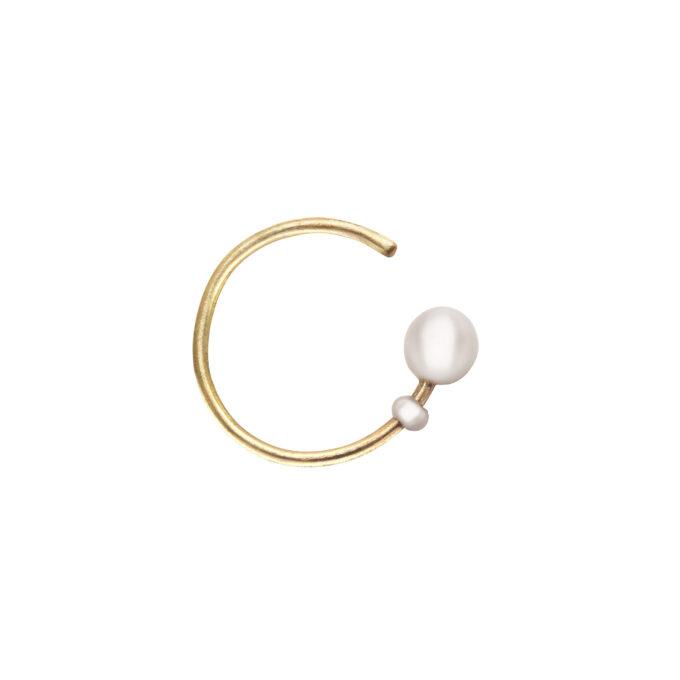 Guld øreringe runde perler