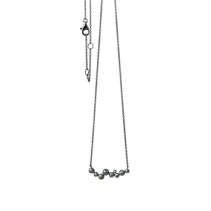 Halskæde sort sølv